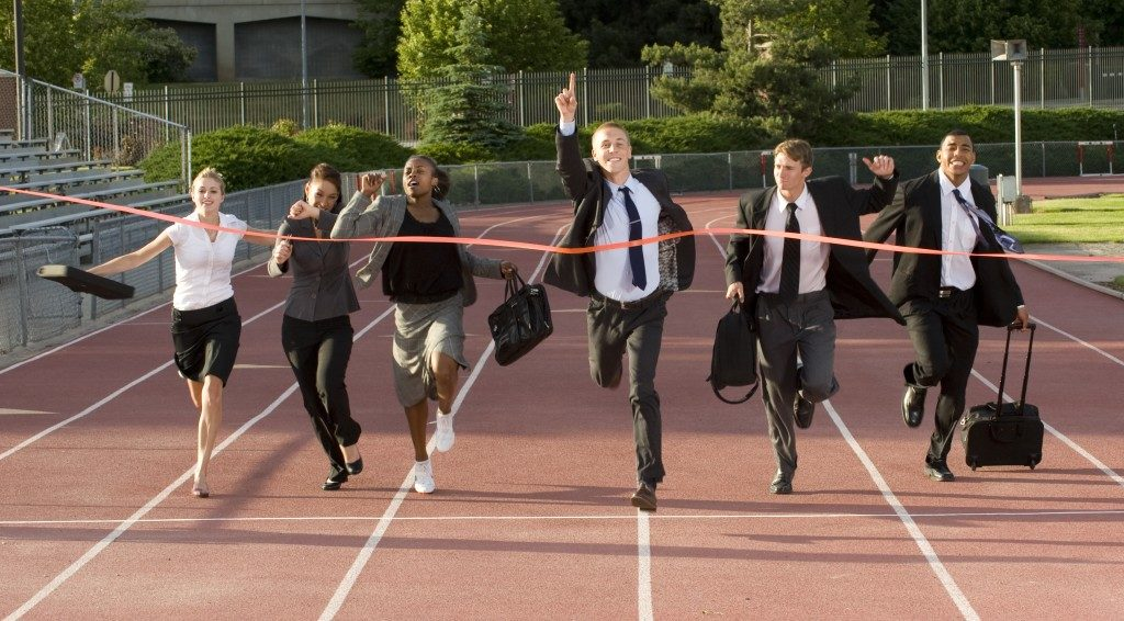 office employees running