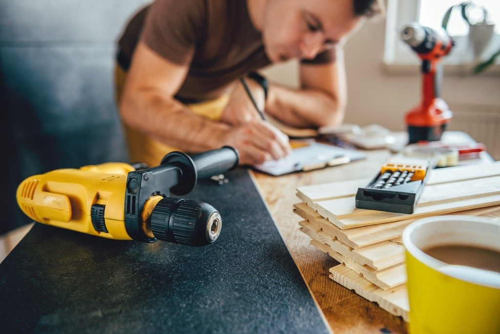 man renovating a home