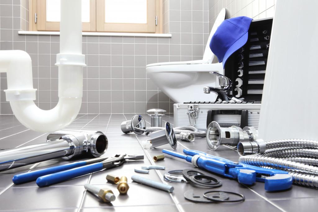 plumbing work in the bathroom