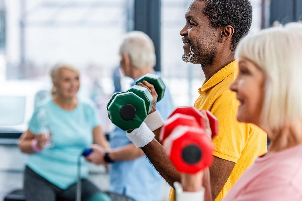seniors at an exercise class