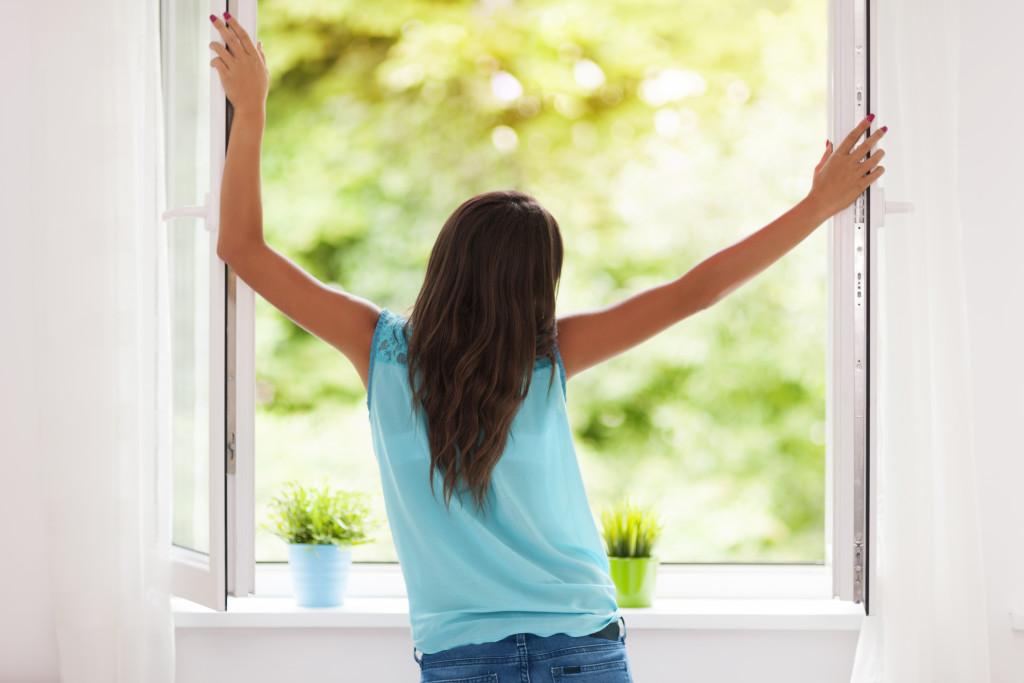looking outside of window