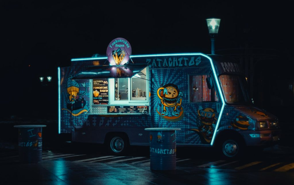 a stylish neon food truck