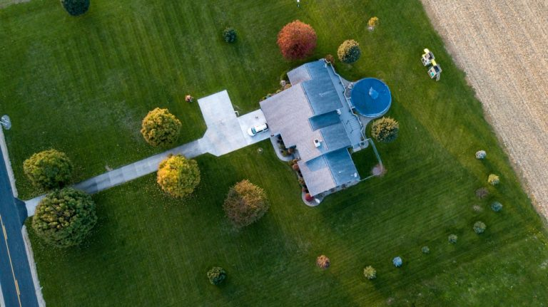 aerial view of a house