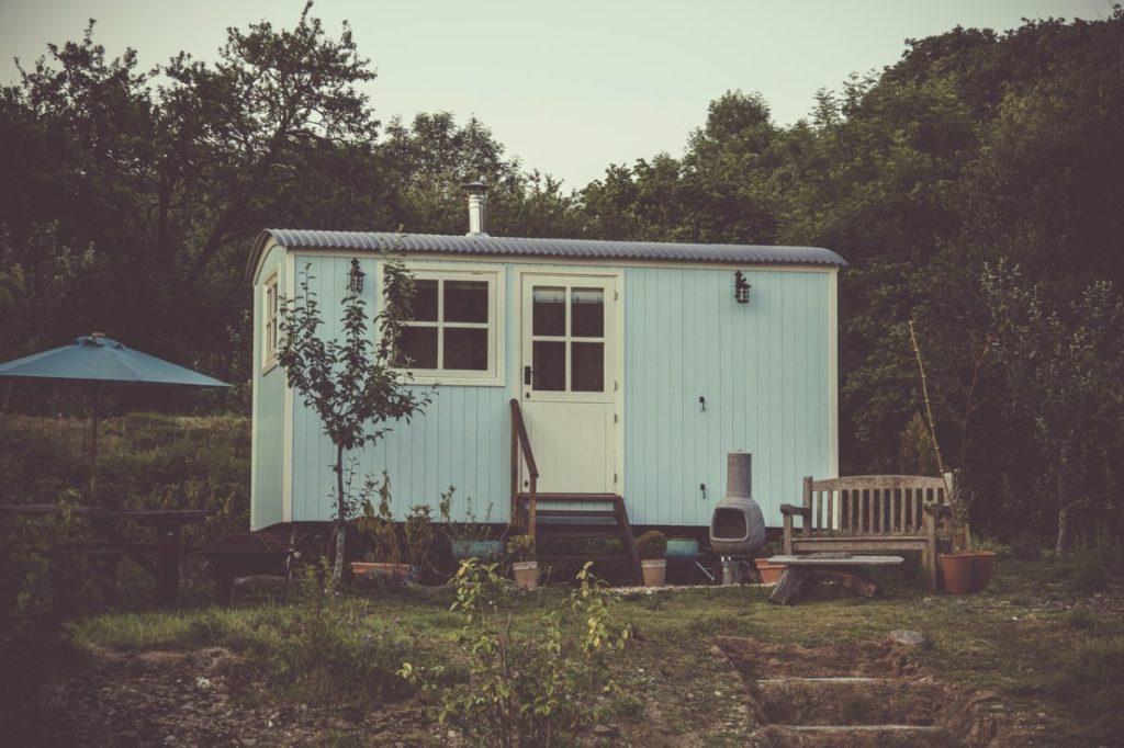 blue tiny house