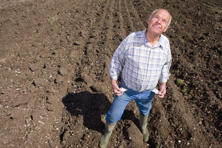 farmer on plowed soil